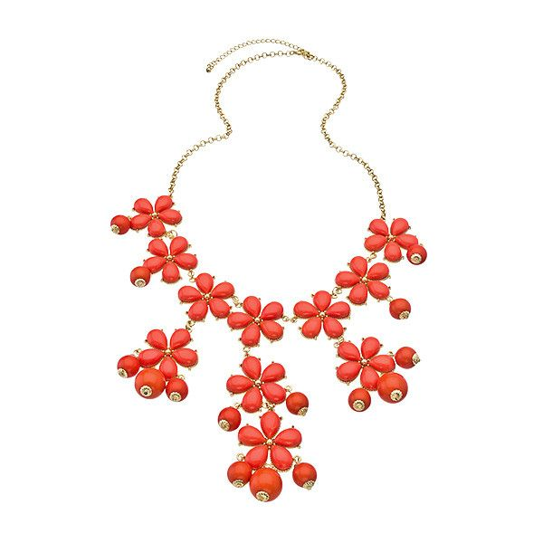 Blu Bijoux Gold and Coral Flower Large Bib Necklace ($22) ❤ liked on Polyvore featuring jewelry, necklaces, accessories, jewels, bubble necklace, coral necklace, gold necklace, double layer necklace and layered necklace