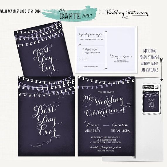 Best Wedding Invitations Ever: String Light Chalkboard Wedding Invitation Card And RSVP