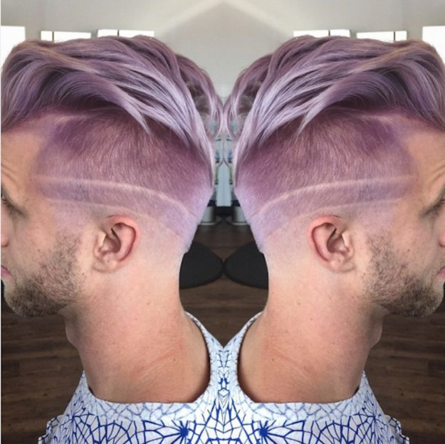 Este corte grabado color lavanda. | 21 Cortes de pelo extremos que se le verían bien a cualquiera
