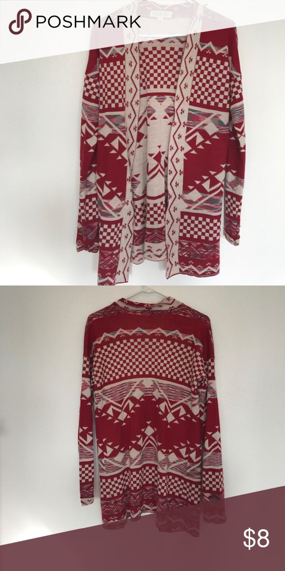 Open front tribal print cardigan Worn once.  Cute with jeans , skirts, shorts.  Light weight open front cardigan Pink Rose Sweaters Cardigans