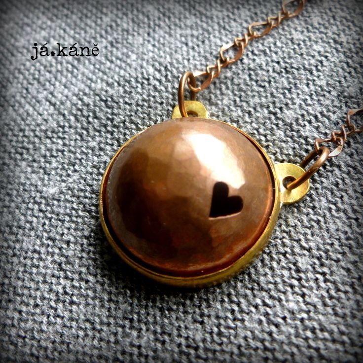 copper and brass rustic necklace boho pendant heart necklace by jakanestudio on Etsy