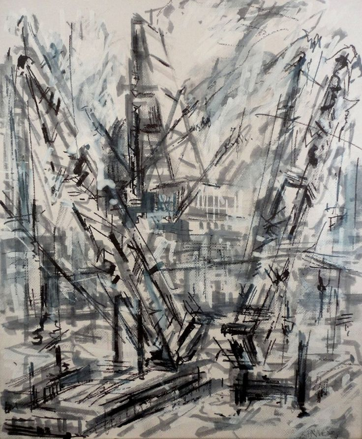 """Cranes at Blackfriars"""" by Jeanette Barnes."""