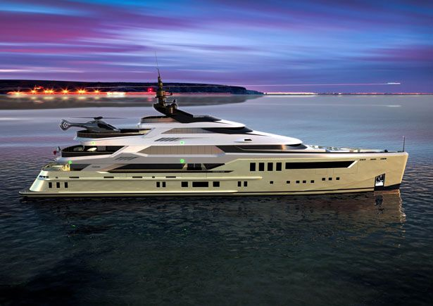 Gemini 60m Yacht by Pannone Architetetti -- A yacht of 60m steel and aluminum, with almost straight forward, classic colors and landing strip for helicopter, Gemini makes it suitable for an owner who wants to reach his yacht at any time of freedom.