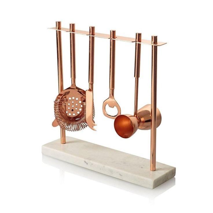 Oliver Bonas Marble & Copper Bar Tools Set