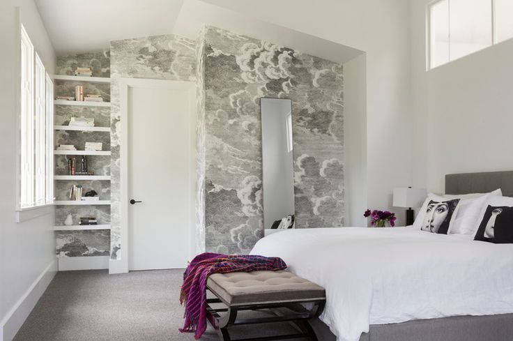 Contemporary Bedroom by Ann Lowengart Interiors; wallpaper: Nuvole, Fornasetti