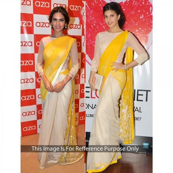 Jacqueline Fernandez's Designer Bollywood Sarees Cream And Yellow Half