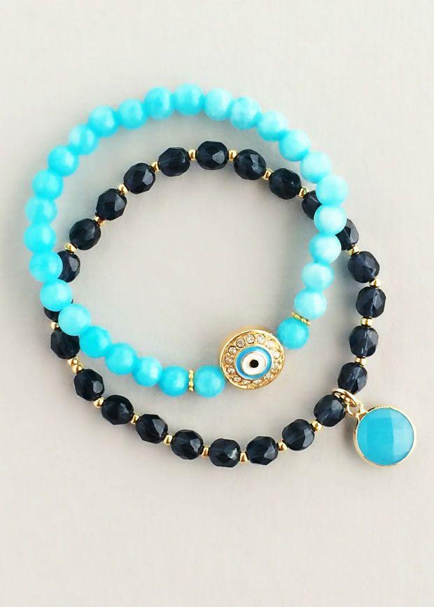 Aqua Evil Eye Bracelet Set