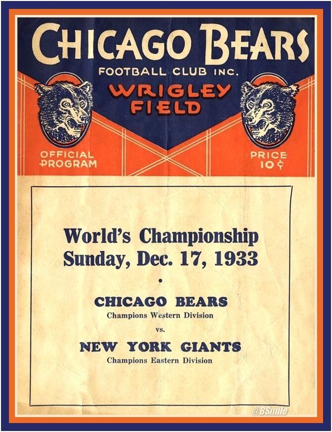 1933 1st NFL Championship Game Program (81 Yrs Ago Today at Wrigley Field)  Chicago Bears vs NY Giants #football