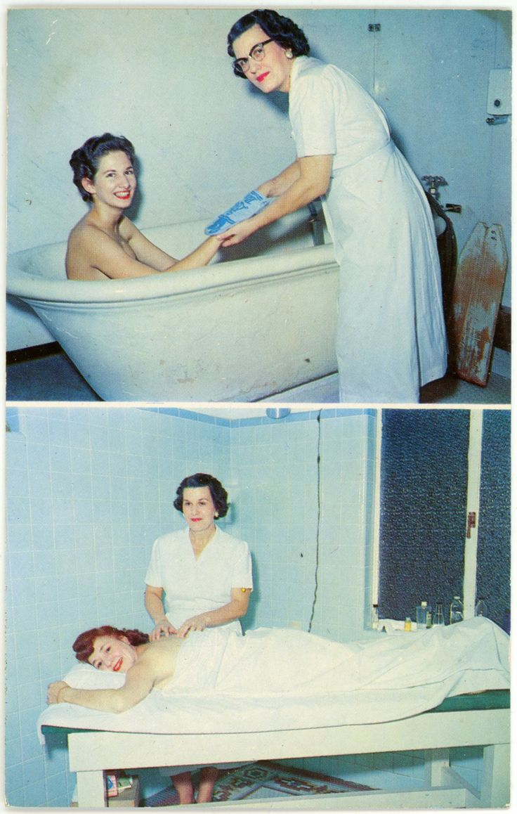 """emilypdunne: """" K.-427 TYPICAL BATH HOUSE SCENE HOT SPRINGS NATIONAL PARK, ARKANSAS Trained attendants help you every step of your bath. Hot Springis one of the finest places on earth to rest, relax and regain your health. Ektachrome by R. W...."""