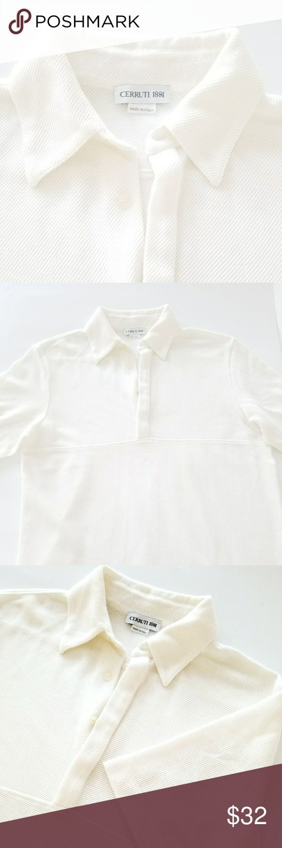 """CERRUTI 1881 Knit Men's Polo Authentic CERRUTI 1881 men's polo knit structure in ivory color, made in Italy, gently used, can be wear with jeans or jacket.  100% cotton  missing size label,  measurements are length 25"""" chest 40"""" , a little bit see true. CERRUTI 1881 Tops"""