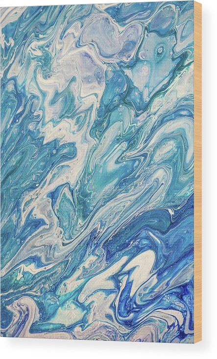 Azure Transfusions Of Ocean Waves Fragment 2 Wood Print by Jenny Rainbow.  All wood prints are professionally printed, packaged, and shipped within 3 - 4 business days and delivered ready-to-hang on your wall. Choose from multiple sizes and mounting options.