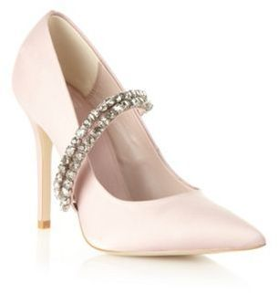 Faith Pale Pink Satin Beaded High Court Shoes On Shopstylecouk