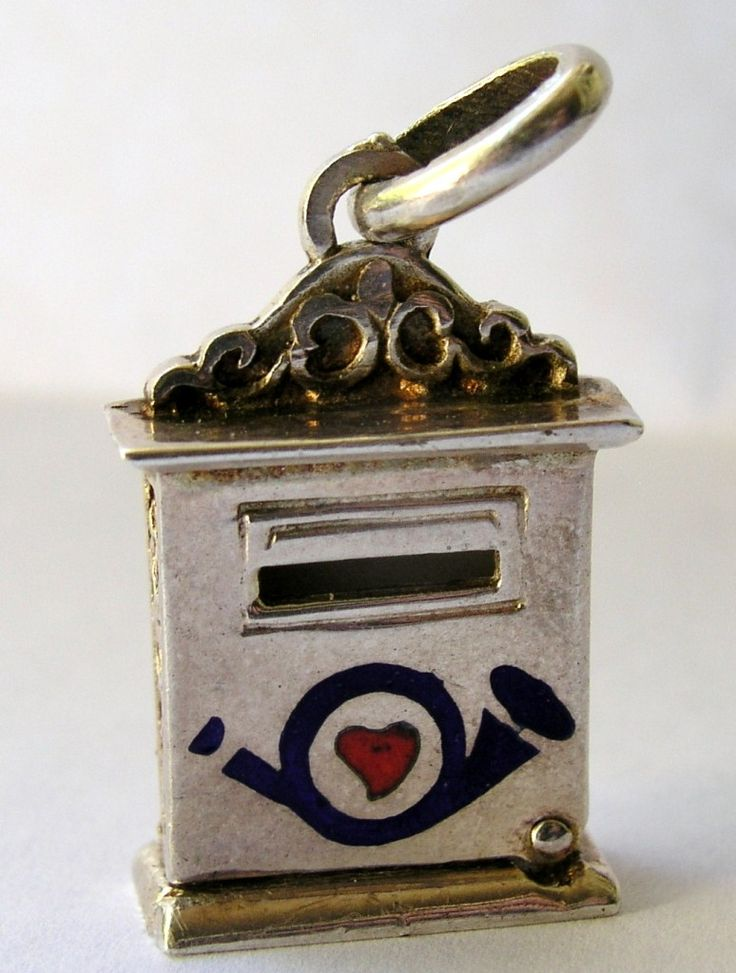 GERMAN ANTIQUE SILVER & ENAMEL HEART MAIL / POST BOX FOR LOVE LETTER CHARM Opens