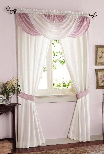 "Waterfall Valance Drapes Curtains By Collections Etc by Mallory Lane. $16.99. Two dusty mauve and ivory panels have an attached scoop valance. Adds an elegant note to your home. Fits window 42""-58""W. Made of satiny polyester. Measures 84"" x 58"". Patricia Drapes: This delicate window dressing adds an elegant note to your home. Made of satiny polyester, the two dusty mauve and ivory panels have an attached scoop valance across the top. Tiebacks included.Rod pocket design..."
