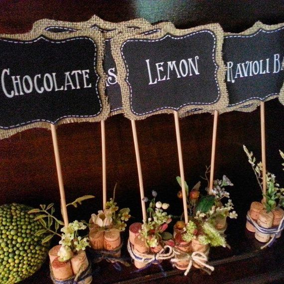 Custom Order for FIVE Mini Chalkboard Sign for Food Stations - Table Numbers - Place Cards