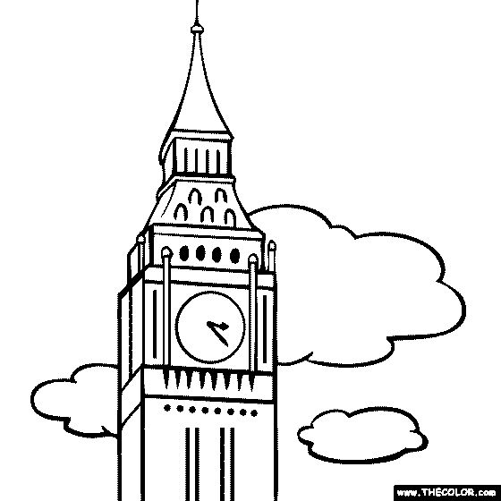 100 free coloring page of big ben london england color in this picture of clock tower big. Black Bedroom Furniture Sets. Home Design Ideas