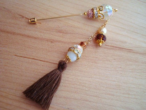 Desert Sand Pearl Crystals and Brown Tassel by SweetStoneDesigns