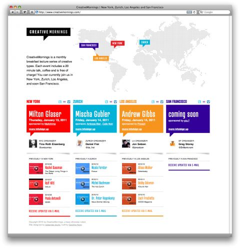 clean, color-coded, and easy to navigate; http://www.creativemornings.com/