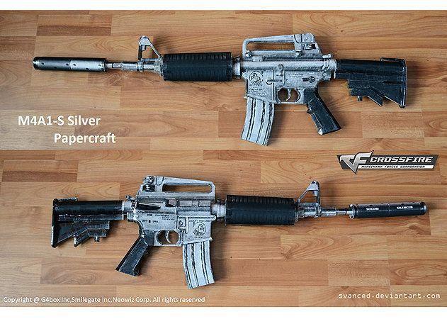 Mô hình giấy M4A1-S Silver Assault Rifle - Cross Fire thiết kế bởi Svanced   Papercraft M4A1-S Silver Assault Rifle - Cross Fire create by Svanced.
