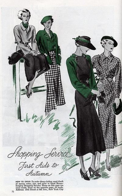 Elegant autumn fashions from the 1930s. #vintage #fashion #illustration #1930s