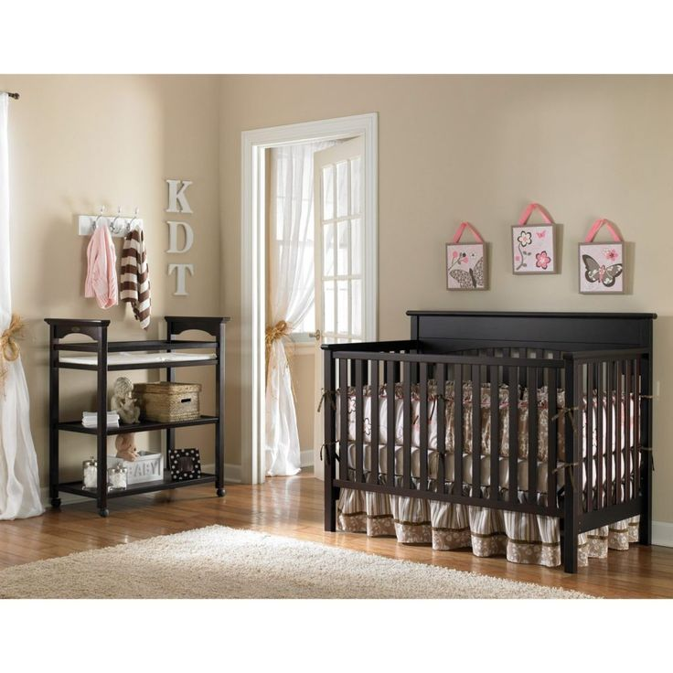 Cute White Bedding Set With Cool Wooden Black Baby Crib Next To Babies Room Babies Room Kids Bedroom Photo Babies Room