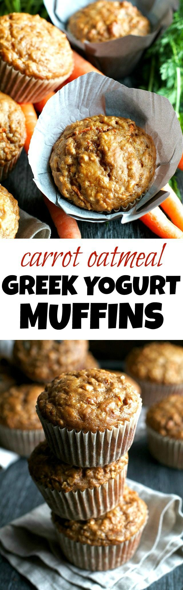 You won't find any butter or oil in these ridiculously soft and tender Carrot Oatmeal Greek Yogurt Muffins! What you will find is plenty of naturally sweetened, carrot-y goodness in each bite! | runningwithspoons... #healthy #muffins #breakfast #snack