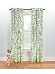 Leaf Print Eyelet Curtains - Green