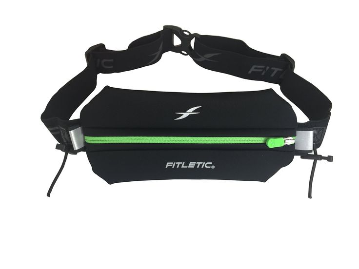 Fitletic Single Pouch with Race Number Holder, Black/Green, One Size Fits All. FITS LARGE PHONES - Upgraded enlarged stretchy pouch now fits iPhone 6 Plus, Samsung Galaxy S5, & other similar sized phones. WATER RESISTANT - Neoprene water resistant pouch to help keep your phone and other essentials dry from sweat and light rain. KEEPING YOU SAFE AND SECURED - Has reflective accents for high visibility for night time safety and special inner pocket that keeps your ID/credit cards, cash and...
