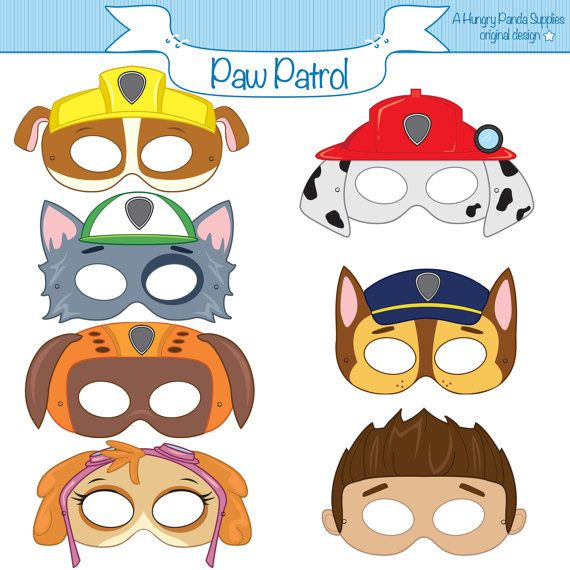 Paw Patrol Inspired Printable Character Party Masks