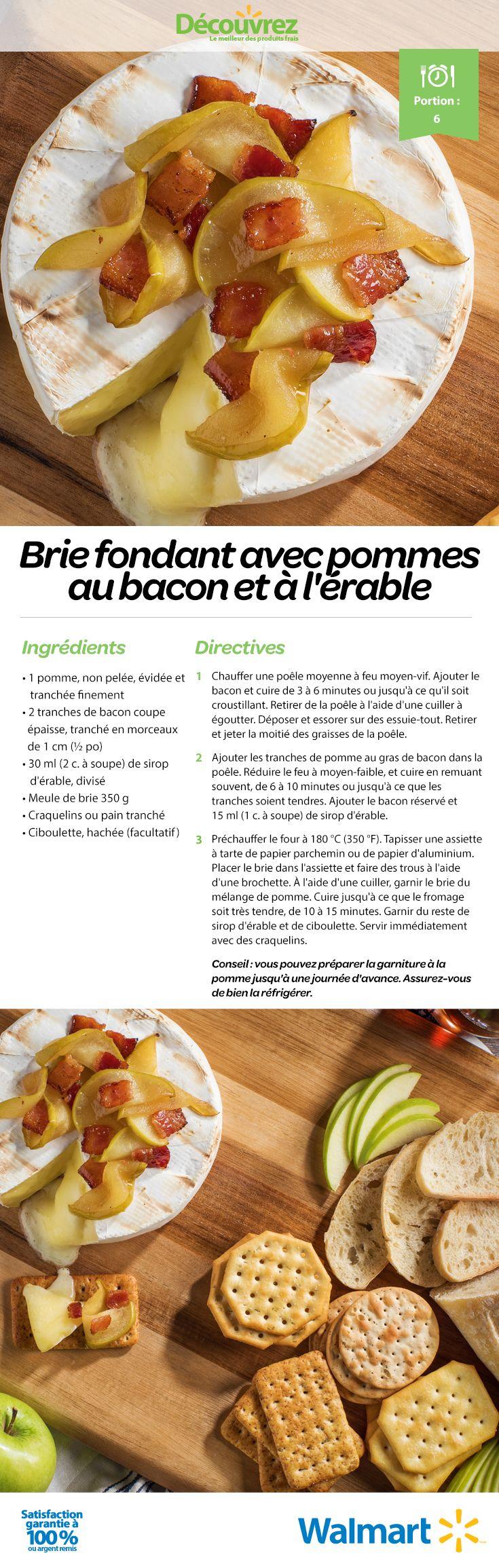 Une entrée savoureuse pour votre repas de l'Action de grâce : un brie fondant avec des pommes et du bacon à l'érable. #RecettesPourLActiondeGrâce