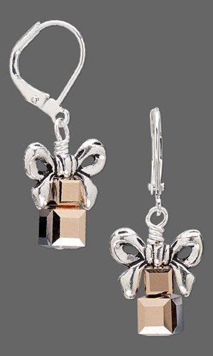 Earrings with SWAROVSKI ELEMENTS and Antiqued Silver-Finished Pewter Beads - Fire Mountain Gems and Beads