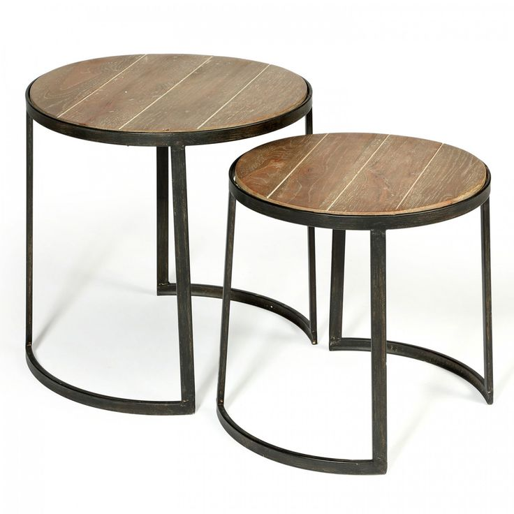 Our minimalist nest of tables juxtaposes steely metal with the warmth of natural wood. Co-ordinate with vintage leather for texture and contrast.