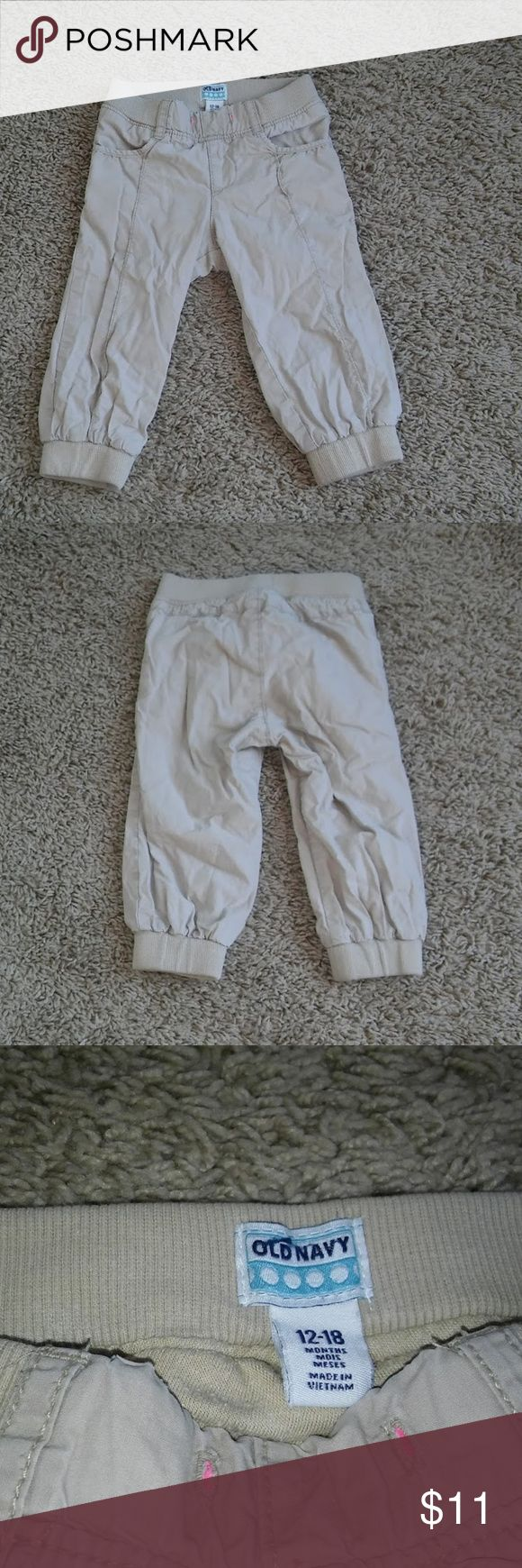 Old Navy Jersey Lined Khaki Jogger Pants Old Navy girls size 12-18 months khaki jogger style pants with jersey knit lining. Cute pants in great condition! Will go with everything and are lined for comfort. Check out my other listings and bundle to save! All reasonable offers considered- no trades. Old Navy Bottoms Casual