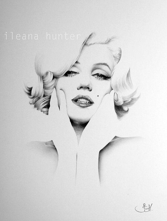 Lápiz de Marilyn Monroe dibujo arte firmado imprimir