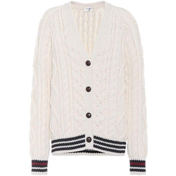 Saint Laurent Cable Knit Wool Cardigan ($1,575) ❤ liked on Polyvore featuring tops, cardigans, white, chunky cable cardigan, woolen tops, white cable knit cardigan, yves saint laurent and cableknit cardigan