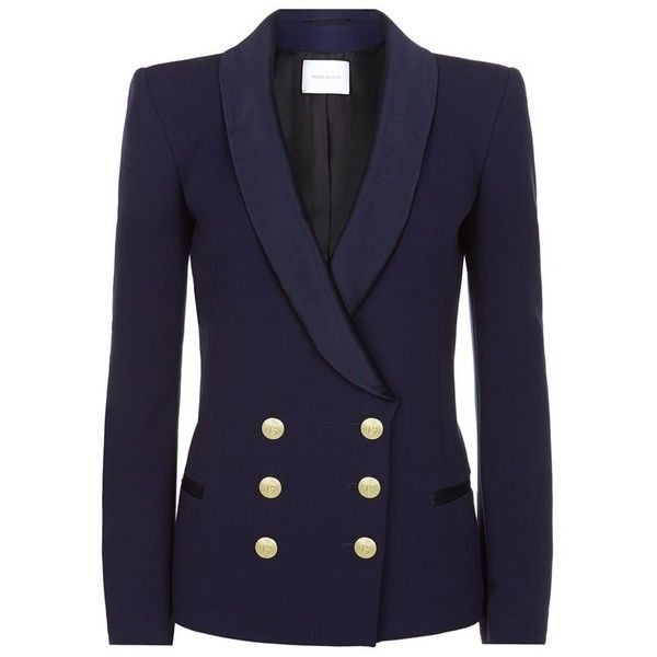 Pierre Balmain Tuxedo Military Blazer ($1,115) ❤ liked on Polyvore featuring outerwear, jackets, blazers, blue tuxedo, blue tuxedo jacket, military jacket, navy blazer and navy tuxedo