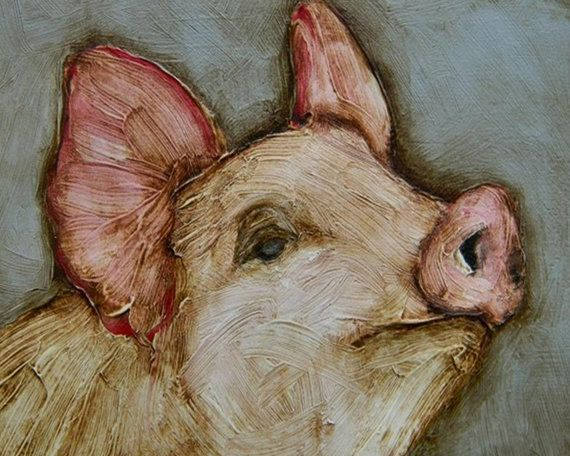 "8 x 10 - ""Ms. Piggy"" - Farm Folk Pig Art LE Giclee print from my original painting"