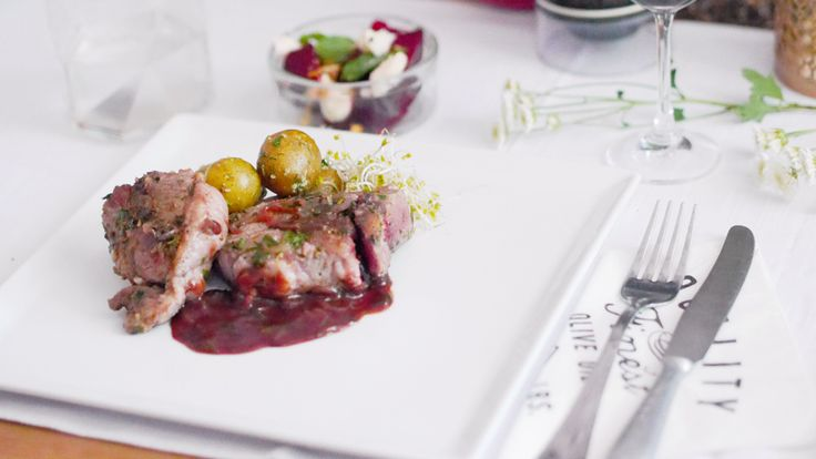 Lamb with roasted beets , sheep cheese and new potatoes!