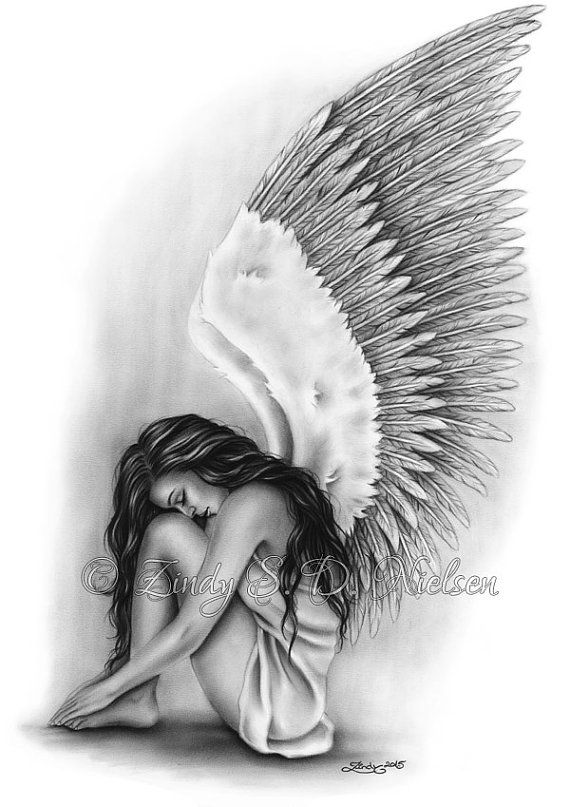 Angel Wings Heaven Girl Art Print Emo Fantasy Girl Zindy Nielsen