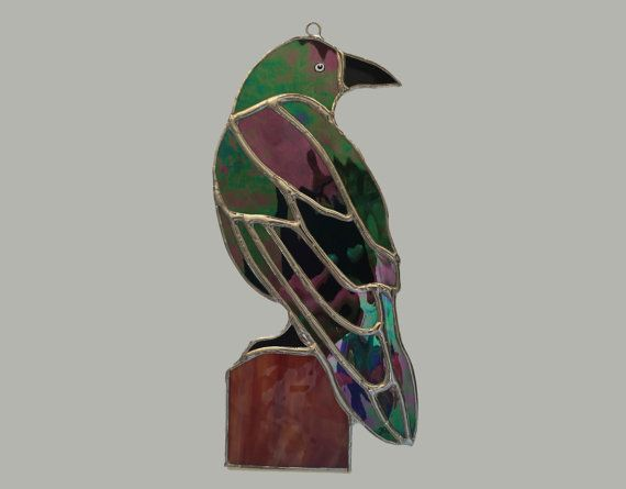 Handmade Stained Glass Crow or Raven by QTSG on Etsy