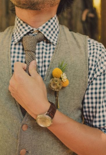 Readers' favorite - gingham + vest with an indie, woodland feel! Photo Captured by Sweet Little Photographs via Well Groomed - Lover.ly