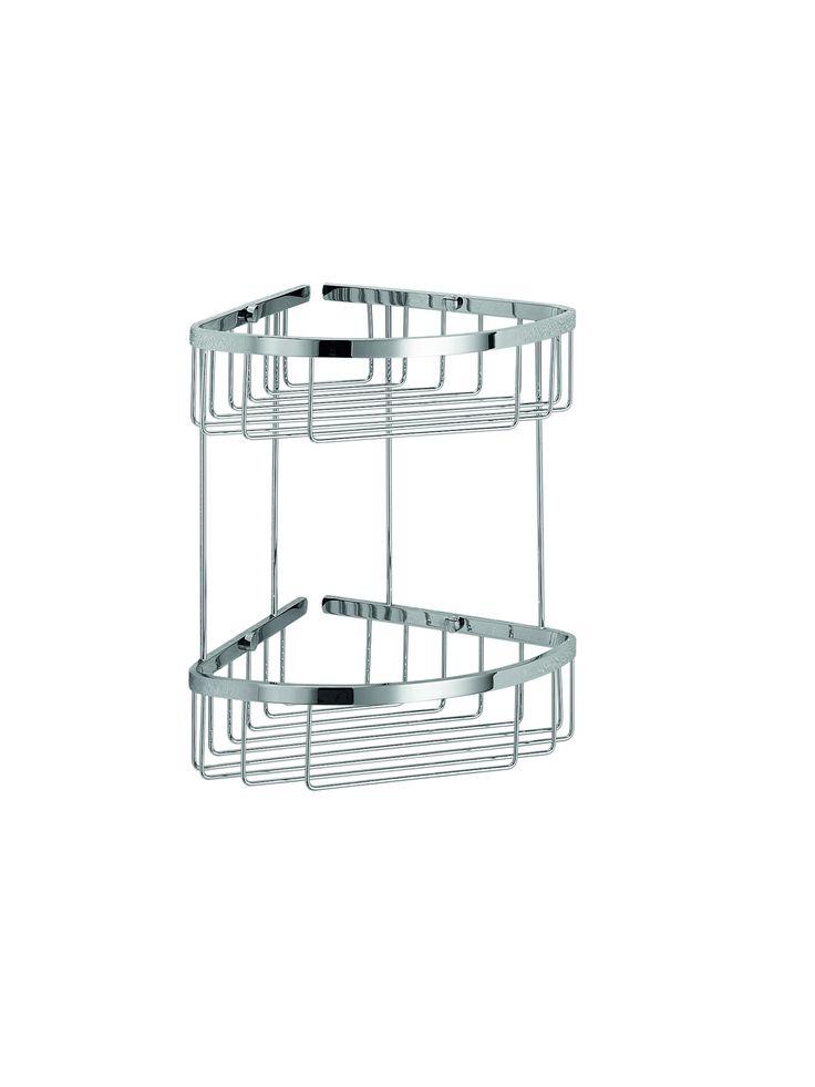 LB Filo Bath Corner Shower Caddy Shelf Basket for Shampoo, Conditioner, Chrome - More Size Options Available
