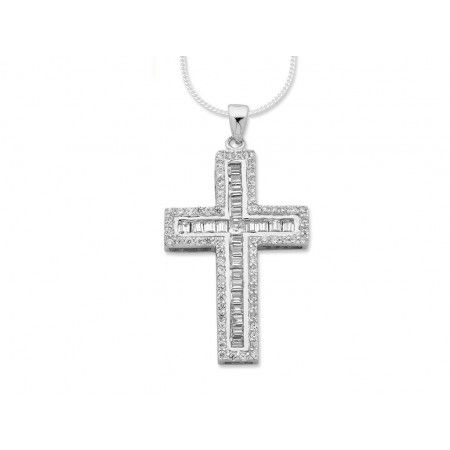 Sterling Silver Cubic Zirconia Cross Necklace - SF980042JEWELLERY | Bevilles Jewellers