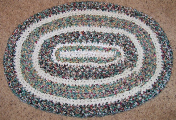handmade rag rugs for sale oval crocheted rag rug in greens and white for sale on 130