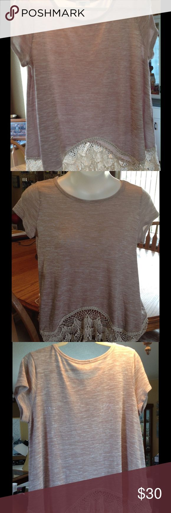 NWOT short sleeve very light sweater.  Brand new Light tan and cream short sleeve top with lace bottom. Size Large. 65% Rayon. 35% polyester.  Hand Wash Hayden Tops Blouses