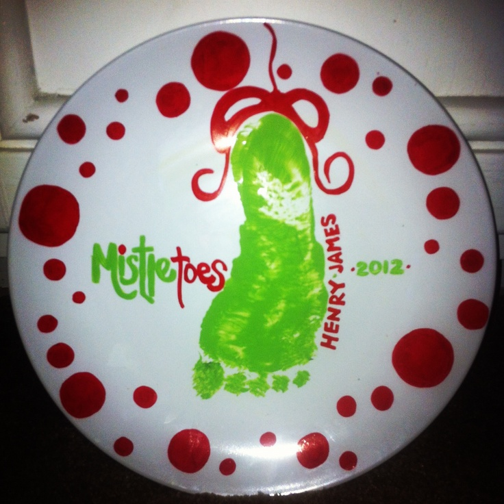 99 cent store plate, sharpie's, craft paint from michaels, my sons foot, baked at 170 for 20 min, voila! I have Pinterest to thank for this one ;) wish I was this creative on my own!