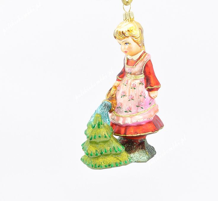 Girl Watering Christmas Tree - mat - Polishchristmasornaments