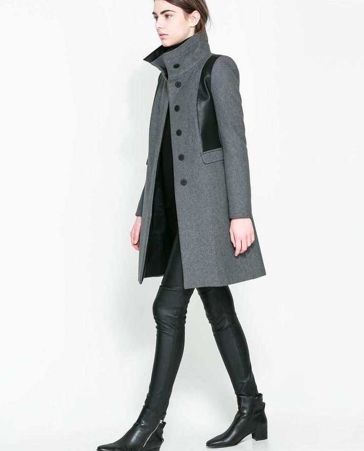 COMBINED WOOL COAT from Zara