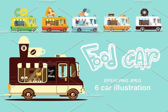 Food car set 2 by Margarita art on @creativemarket