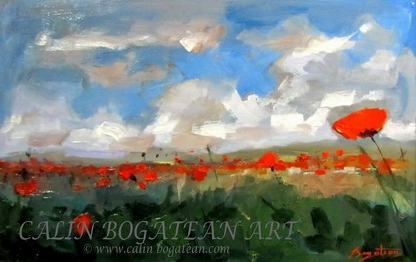 Câmp cu maci peisaj în ulei pictură pe pânză peisagistică realistă hiperrealistă pe pânză picturi executate de pictorul comtemporan Călin Bogătean membru al Uniunii Artistilor Profesionisti din Romania. Peisaje originale unicat